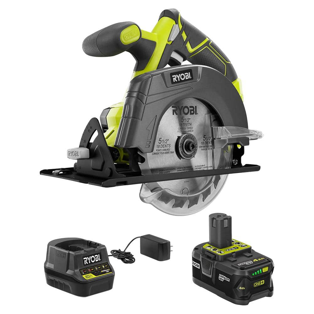 18-Volt ONE+ Cordless 5-1/2 in. Circular Saw with (1) 4.0 Ah Lithium-Ion Battery and 18-Volt Charger
