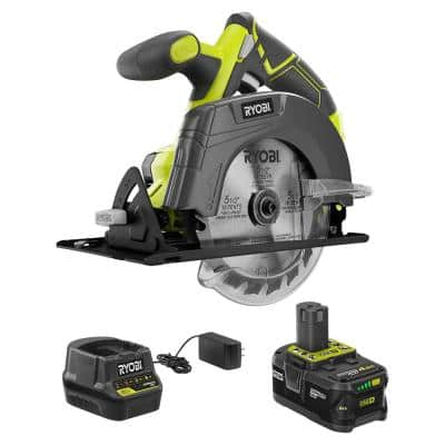 ONE+ 18V Cordless 5-1/2 in. Circular Saw with (1) 4.0 Ah Lithium-Ion Battery and 18V Charger