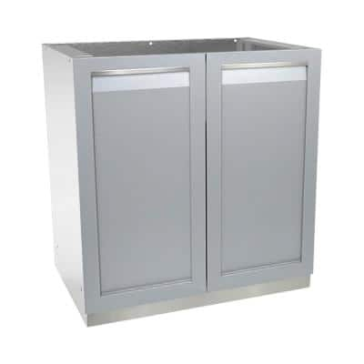 Stainless Steel Assembled 32x35x24 in. Outdoor Kitchen Base Cabinet with 2 Full Height Doors in Gray