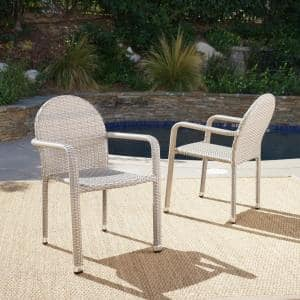 Aurora Chateau Grey Stackable Aluminum Outdoor Dining Chair (2-Pack)