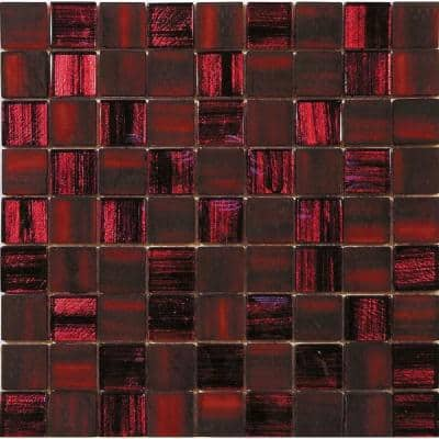 Red 11.3 in. x 11.3 in. Polished and Matte Finished Glass Mosaic Tile (4.43 sq. ft./Case)