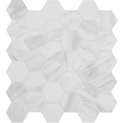 Kolasus White Hexagon 12 in. x 12 in. x 10 mm Matte Porcelain Mosaic Tile (8 sq. ft. / case)