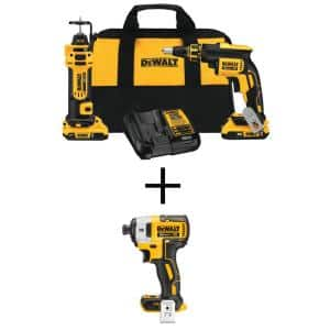 20-Volt MAX XR Cordless Drywall Screw Gun/Cut-out Tool Kit (2-Tool) with (2) 2.0Ah Batteries & 1/4 in. Impact Driver