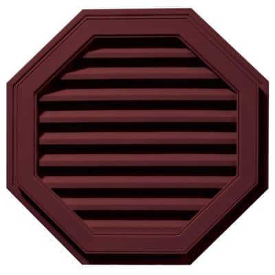 27 in. x 27 in. Octagon Red Plastic Built-in Screen Gable Louver Vent