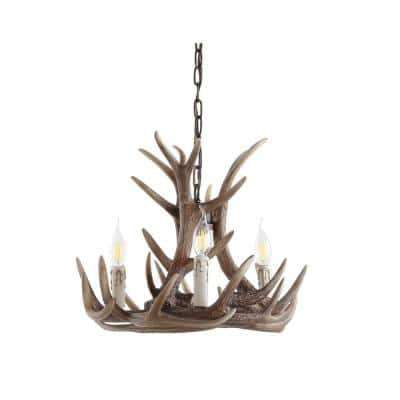 Eldora 18 in. Adjustable Resin Antler 3-Light Brown LED Chandelier