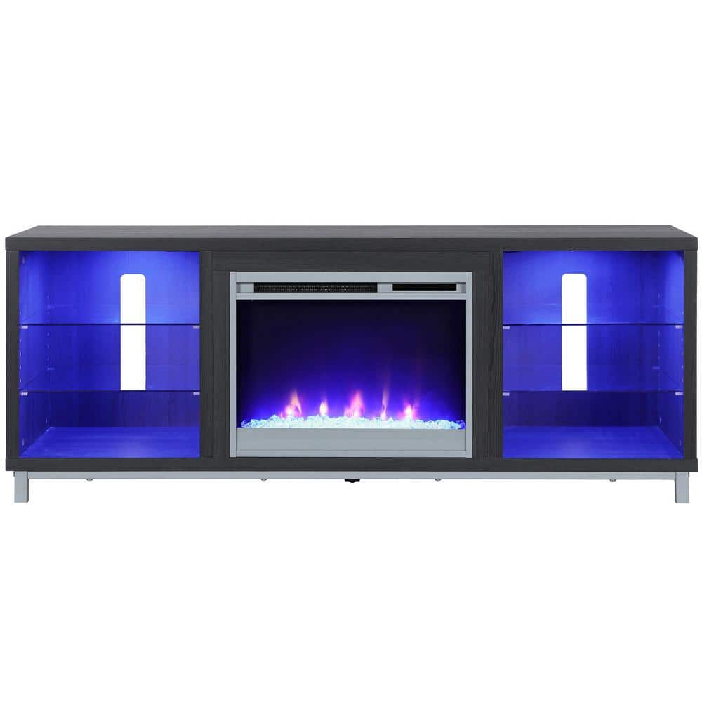 Ameriwood Cleavland 65 In Black Oak Particle Board Tv Stand Fits Tvs Up To 70 In With Electric Fireplace Hd46978 The Home Depot