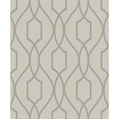 Evelyn Bronze Trellis Wheat Wallpaper Sample