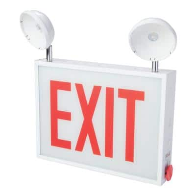 CHXC Series 3.6-Watt 2-Head White Integrated LED Emergency Light Exit Sign Combo