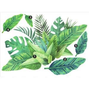 Green Watercolor Tropical Leaves Peel and Stick Giant Wall Decals