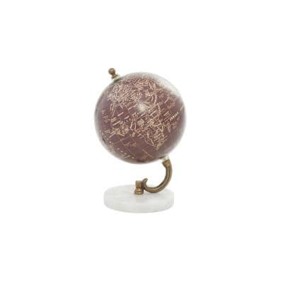 Modern 8 in. x 5 in. PVC Iron and Marble Globe with Stand