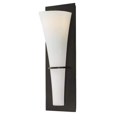 Barrington 5.25 in. 1-Light Oil Rubbed Bronze Wall Sconce with White Opal Etched Glass Shade