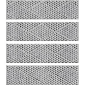 Diamonds 8.5 in. x 30 in. Stair Treads (Set of 4) Medium Gray