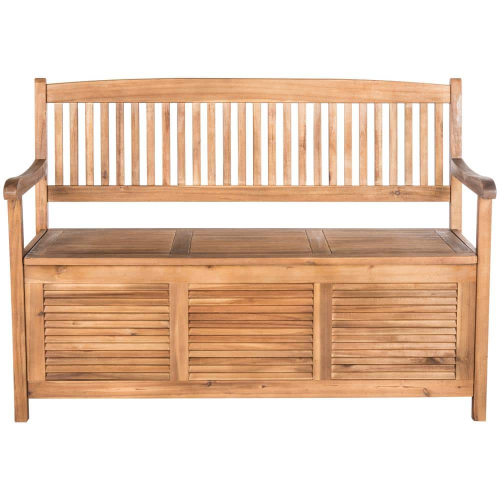 Safavieh Brisbane 50 In 2 Person Natural Brown Acacia Wood Outdoor Bench Pat7017b The Home Depot
