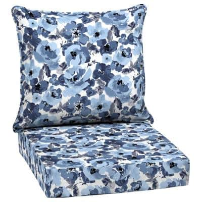 24 in. x 24 in. 2-Piece Deep Seating Outdoor Lounge Chair Cushion in Garden Delight