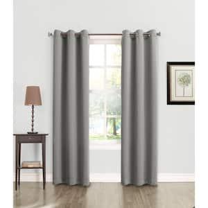 GRAY Solid Grommet Room Darkening Curtain - 40 in. W x 63 in. L