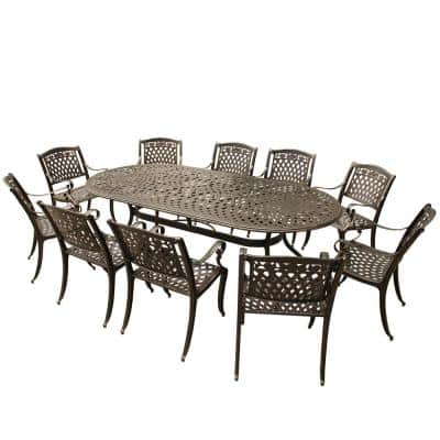 Ornate Modern Rose 11-Piece Bronze Aluminum Oval Outdoor Dining Set with 10-Chairs