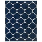 Royal Collection Navy Trellis Design 6 ft. 7 in. x 9 ft. 3 in. Area Rug