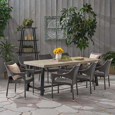 Espanola 30 in. Grey 9-Piece Metal Rectangular Outdoor Dining Set