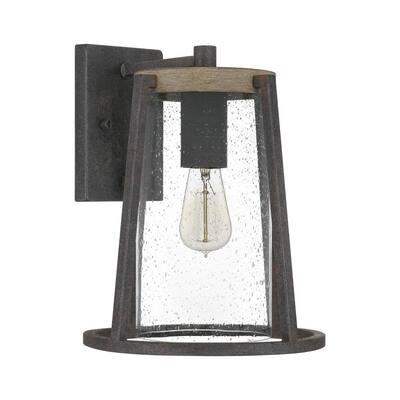 Brockton 1-Light Rustic Black Outdoor Lantern Sconce
