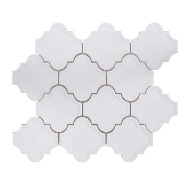 Jeffrey Court Marrakech White 9 375 In X 12 25 In Arabesque Glossy Ceramic Mosaic Tile 99339 The Home Depot