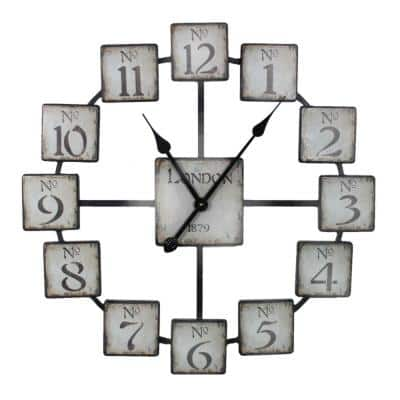 Black and White, Classic and Uniquely Designed Metal Wall Clock