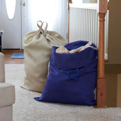 Navy And Angora Cotton Laundry Bags
