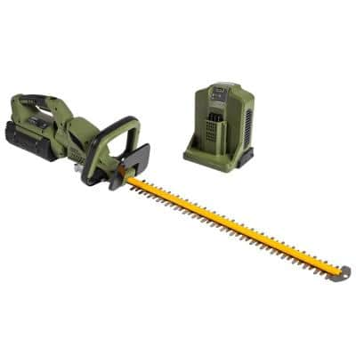 62V Brushless 25in. Cordless Battery Push start Hedge Trimmer with Rotating Handle and 2.5 Ah Batter and Rapid Charger