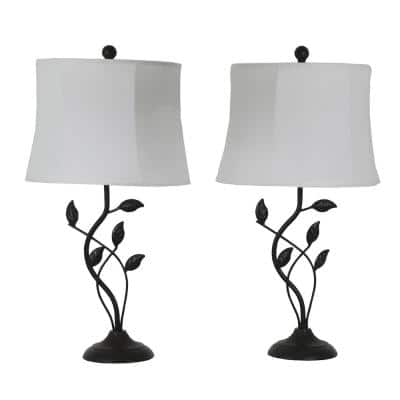Olivia Leaf 26 in. Bronze Table Lamps with Shade (Set of 2)