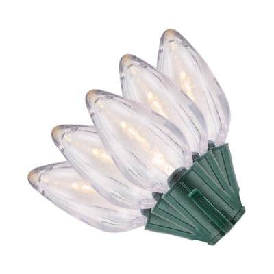 50 Light C9 LED Smooth Warm White Super Bright Constant On Light String (Set of 2)