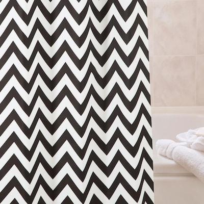 "Medium Weight Decorative PEVA Shower Curtain Liner, 70"" W x 72"" H, Step Up Chevron"