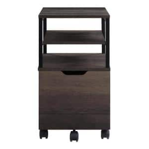 Contempo Brown Ash Mobile Cart with Black Metal