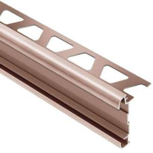 Rondec-CT Brushed Copper Anodized Aluminum 5/16 in. x 8 ft. 2-1/2 in. Metal Double-Rail Bullnose Tile Edging Trim
