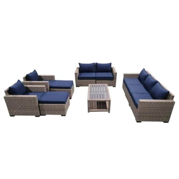 Andmakers 10 Piece Wicker Rattan, Corvus 8 Piece Grey Wicker Patio Furniture Set With Blue Cushions