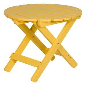 19.5 in. Tall Lemon Yellow Round Adirondack Outdoor Cedar Wood Folding Side Table