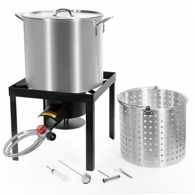 64 Qt. X-Large Outdoor Aluminum Turkey Deep Fryer Pot and Burner Kit