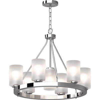 Emery 7-Light Chrome Indoor Hanging Chandelier with Frosted Glass Cylinder Shades
