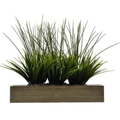 14 in. Tall Grass Artificial Indoor/ Outdoor Decorative Greenery in Designer Taupe Pot