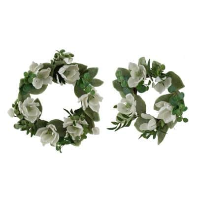 Artificial Magnolia and Eucalyptus Wreath White and Green - Set of 2