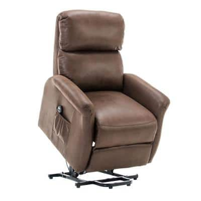 37 in. Width Big and Tall Brown Faux Leather Lift Recliner