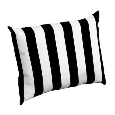 Black Cabana Stripe Rectangle Outdoor Throw Pillow