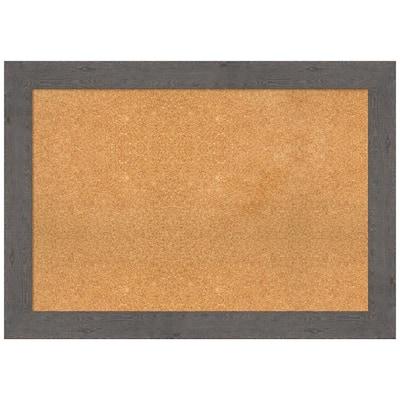 Rustic Plank Grey 41.38 in. x 29.38 in. Framed Corkboard Memo Board