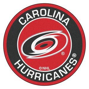 NHL Carolina Hurricanes Black 2 ft. x 2 ft. Round Area Rug