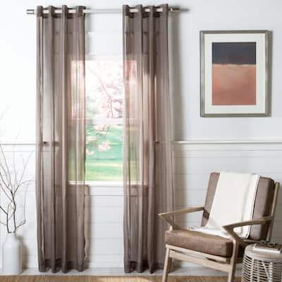 Brown Solid Grommet Sheer Curtain - 52 in. W x 84 in. L