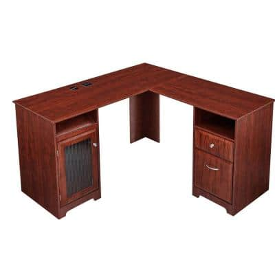 56 in. L-Shaped Cherry Espresso 2-Drawer Computer Desk with File Storage