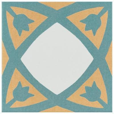 Revival Tulip Encaustic 7-3/4 in. x 7-3/4 in. Ceramic Floor and Wall Tile