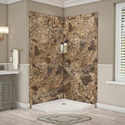 Splendor 40 in. x 40 in. x 80 in. 7-Piece Easy Up Adhesive Corner Shower Wall Surround in Breccia Paradiso