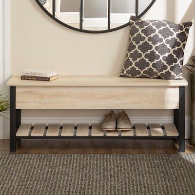 48 in. White Oak Open-Top Storage Bench with Shoe Shelf