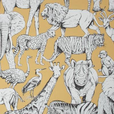 Jungle Animals Yellow Paper Strippable Roll (Covers 56 sq. ft.)