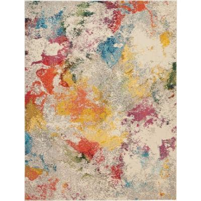 Celestial Janelle Ivory/Multicolor 8 ft. x 11 ft. Abstract Art Deco Area Rug