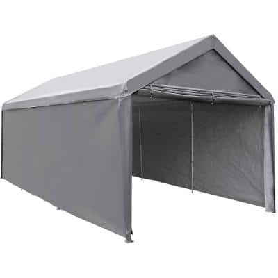 10 ft. W x 20 ft. D Dark Grey Roof Steel Carport with Removable Sidewalls